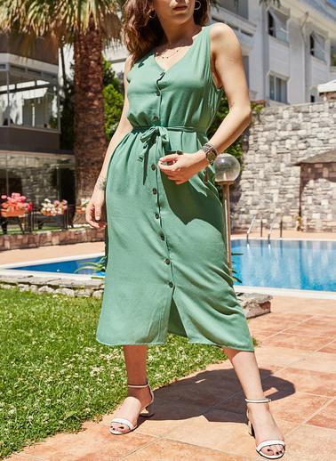 XHAN Kolsuz Viskon Gömlek Elbise 9Yxk6-41207-68 Yeşil